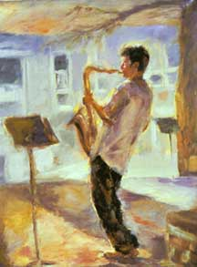 oil painting of sax player