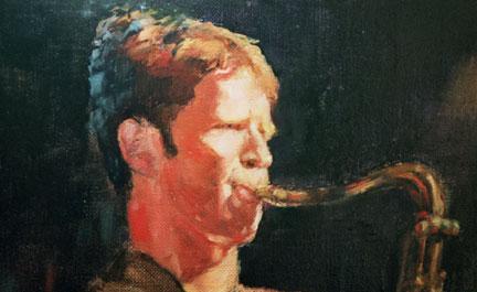 paintings of jazz musician - saxaphone