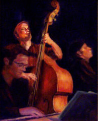 Jazz oil painting of Base player