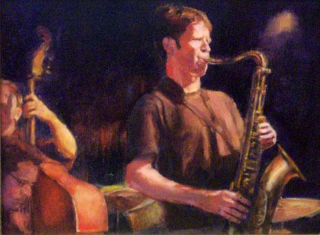 Jazz paintings sax player