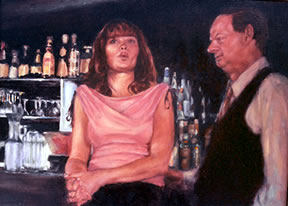 Jazz Bar Scene oil paintings