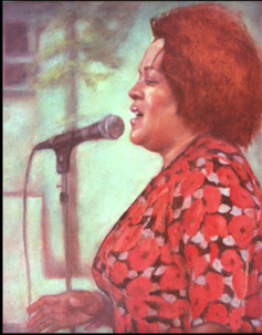 painting of jazz singer paula west