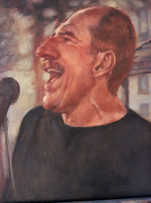 oil painting of jazz singer