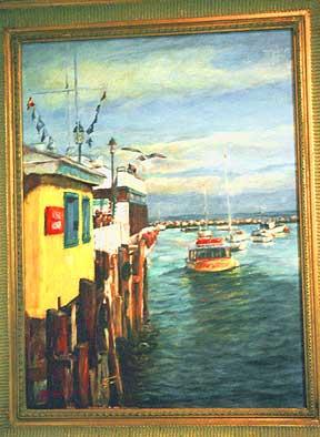 painting of the Monterey Harbor Monterey harbor scene