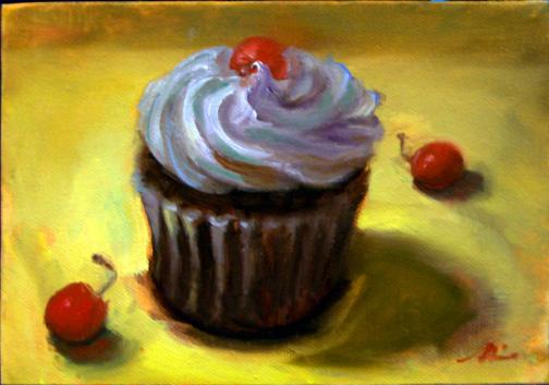 Painting  Chocolate Cherry Cupcake