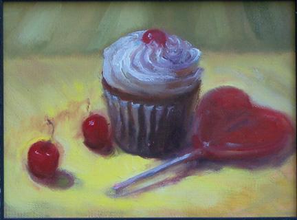 Painting Cupcake with Cherries and wild cherry heart