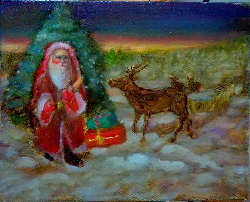 Christmas Art by Artist oil painter Riki R Nelson - Seascape paintings, City paintings, Bar art,
