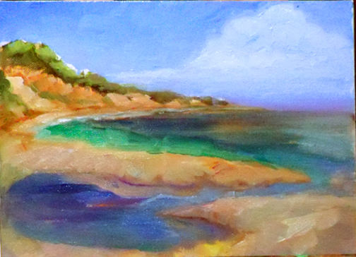 Plein Air Oil painting of the California Coast