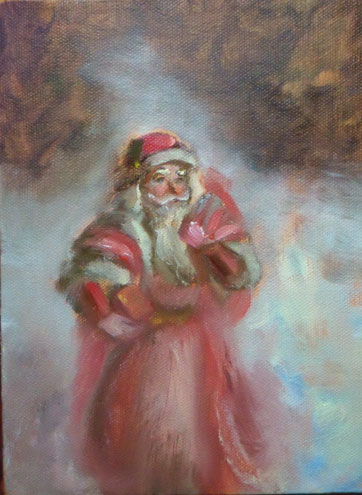 oil painting of father christmas
