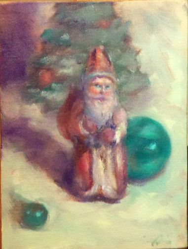 Painting of vintage Santa Clause ornaments