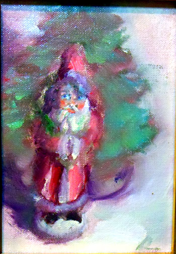 painting of Santa Claus vintage