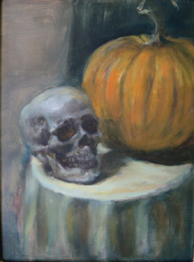 Painting of Skull  and Pumpkin