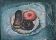Oil painting of doughnuts on a limoges plate