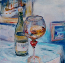 oil painting of chardonny wine bottle and glass