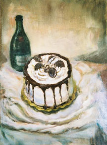 oil painting of a cake w a bottle of champagne