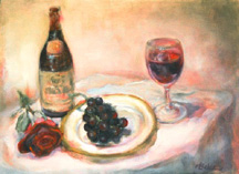 Oil painting of grapes, wine, wine glass and fine china