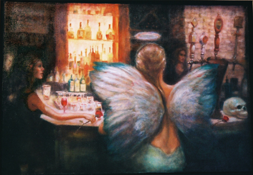 Oil painting of bar scene, with angel