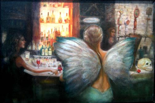 Bar Scene Oil Painting