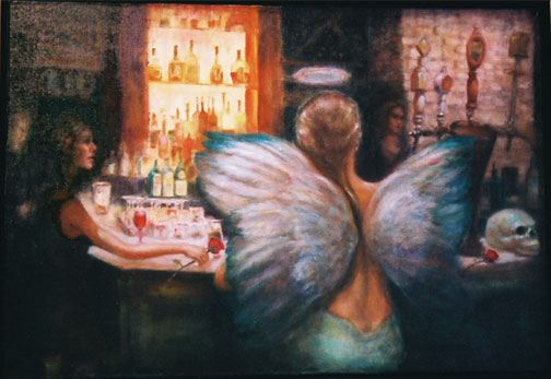 Bar Scene Oil Painting