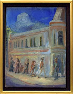 city painting street scene with people