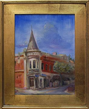 Plein Air Oil Painting of Downtown Los Gatos