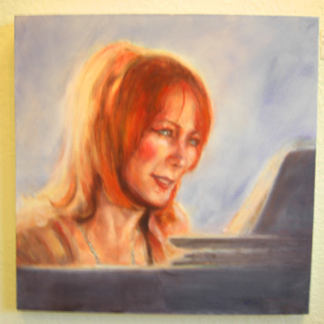 Oil Painting of Jazz piano player