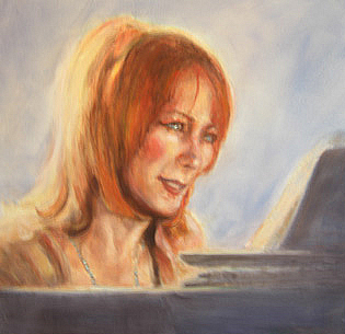 painting of female piano player