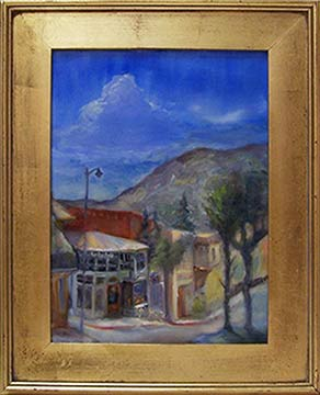 Plein Air Oil Painting of main street