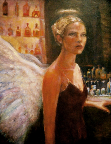 oil painting of woman at the bar