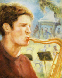 sax player painting
