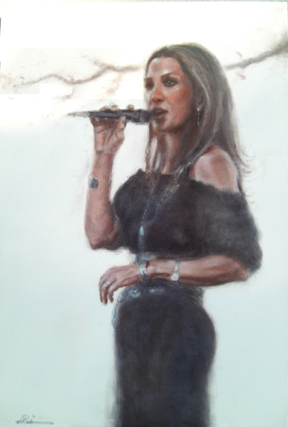 realisitic Oil Painting of female Jazz singer