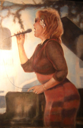 painting female jazz singer Vitro