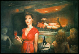 oil painting of bar scene by Riki R Nelson