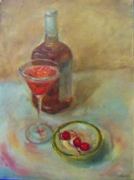 oil painting of cocktails by Riki R Nelson