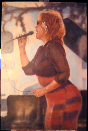 painting female jazz singer