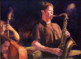 portrait of sax player in nignt club